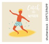 surfer boy catching the wave...   Shutterstock .eps vector #1097159699