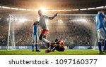 soccer game moment  on... | Shutterstock . vector #1097160377