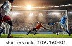 soccer game moment  on... | Shutterstock . vector #1097160401