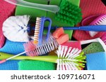 many colorful sponges and... | Shutterstock . vector #109716071