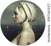 portrait of a beautiful girl.... | Shutterstock . vector #1097161517