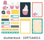 set of planner sticker vintage... | Shutterstock .eps vector #1097166011