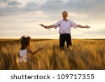 little girl and grandpa with a... | Shutterstock . vector #109717355