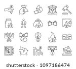 bankruptcy thin line icons set. ... | Shutterstock .eps vector #1097186474