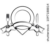 empty plate with ribbon  spoon  ... | Shutterstock . vector #1097188814