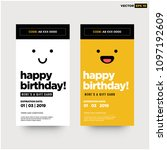 happy birthday emoji gift card... | Shutterstock .eps vector #1097192609