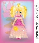 little princess in a pink dress ...   Shutterstock .eps vector #109719374