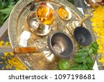 conch shell  shankha  and drum... | Shutterstock . vector #1097198681