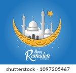 happy ramadan kareem papercut...   Shutterstock .eps vector #1097205467
