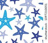 blue starfish seamless vector... | Shutterstock .eps vector #1097210051