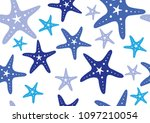 blue starfish seamless vector... | Shutterstock .eps vector #1097210054
