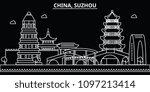 suzhou silhouette skyline.... | Shutterstock .eps vector #1097213414