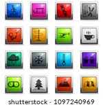 skiing vector icons in square... | Shutterstock .eps vector #1097240969