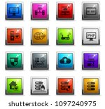 server vector icons in square... | Shutterstock .eps vector #1097240975