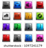 music vector icons in square... | Shutterstock .eps vector #1097241179