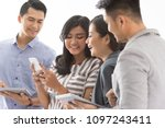 group of young man busy using...   Shutterstock . vector #1097243411