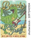 surfing theme t shirt or poster ... | Shutterstock .eps vector #1097243504