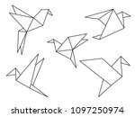 origami birds line drawing... | Shutterstock .eps vector #1097250974