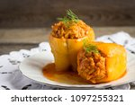 stuffed peppers on a white... | Shutterstock . vector #1097255321