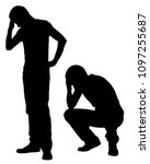 Silhouettes Of Worried Men