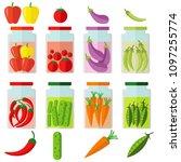set of fresh healthy vegetables ... | Shutterstock .eps vector #1097255774