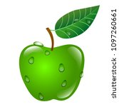 green apple with sprig and leaf ... | Shutterstock .eps vector #1097260661