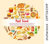 poster fast food. salted nuts ... | Shutterstock .eps vector #1097261549