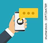 mobile messenger chat  hands... | Shutterstock .eps vector #1097264789