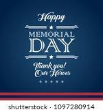 vector happy memorial day blue... | Shutterstock .eps vector #1097280914