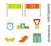 set of marathon flat icon... | Shutterstock .eps vector #1097283905