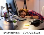 young woman exhausted because... | Shutterstock . vector #1097285135