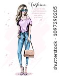 hand drawn beautiful woman with ...   Shutterstock .eps vector #1097290205