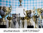 cups of winners award on white... | Shutterstock . vector #1097293667
