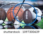assorted sports equipment | Shutterstock . vector #1097300639