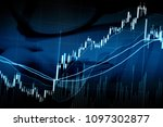 candle stick graph chart with... | Shutterstock . vector #1097302877