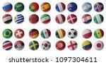 set of 3d soccer balls with... | Shutterstock . vector #1097304611