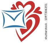 envelop and hearts. vector...   Shutterstock .eps vector #1097306351