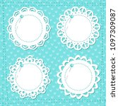 lacy frames on the blue... | Shutterstock .eps vector #1097309087