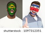 emotional soccer fans with... | Shutterstock . vector #1097312351