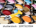 tin cans with paint  brushes... | Shutterstock . vector #1097315504