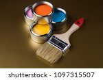 paintbrush on cans with color | Shutterstock . vector #1097315507