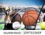 assorted sports equipment | Shutterstock . vector #1097315609