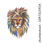 lion head icon watercolor avatar | Shutterstock . vector #1097315924