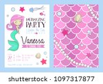 mermaid party invitation with... | Shutterstock .eps vector #1097317877