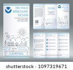 tri fold brochure template  on... | Shutterstock .eps vector #1097319671