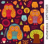 seamless autumn pattern with... | Shutterstock .eps vector #109732025
