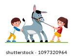 smiling preschool kids girl... | Shutterstock .eps vector #1097320964