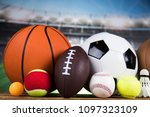 sport equipment  soccer tennis... | Shutterstock . vector #1097323109