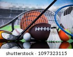 assorted sports equipment | Shutterstock . vector #1097323115