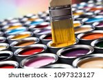 tin metal cans with color paint ... | Shutterstock . vector #1097323127